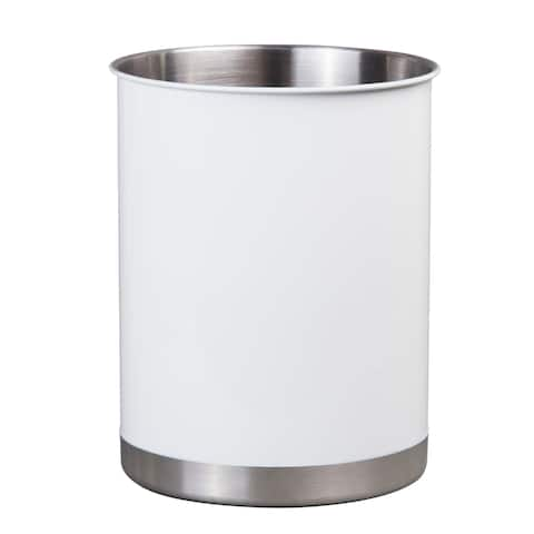 Creative Home Stainless Steel Small Utensil Tool Crock, White