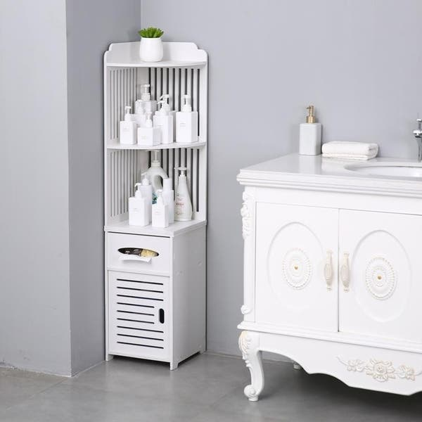 Bathroom Storage Corner Floor Cabinet