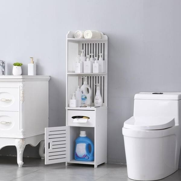 Bathroom Storage Organization Small Bathroom Storage Corner Floor Cabinet With Doors And Shelves Thin Toilet Vanity Cabinet Towel Storage Shelf For Paper Holder White Narrow Bath Sink Organizer Home Kitchen