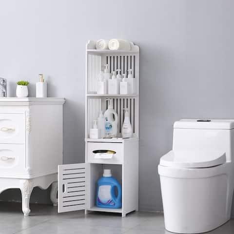 Bathroom Storage Corner Floor Cabinet with Doors and Shelves, Thin Toilet Vanity Cabinet