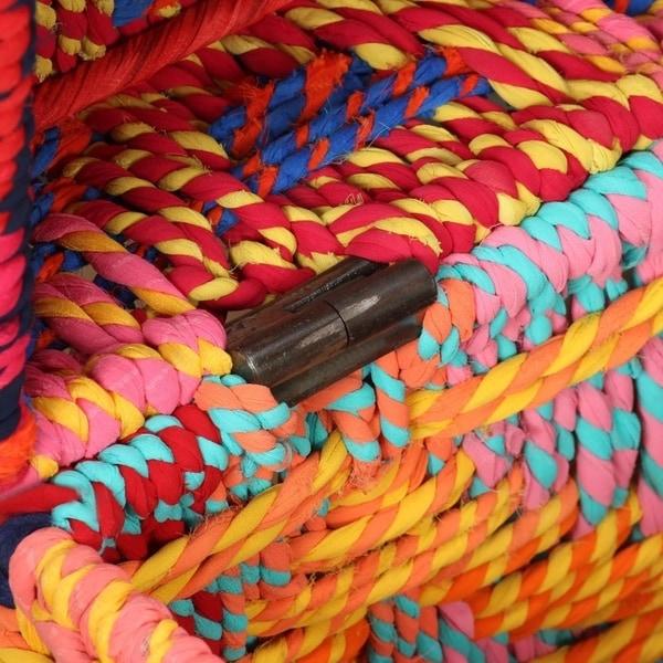 Storage Boxes Set of 2 Chindi Fabric Multicolor
