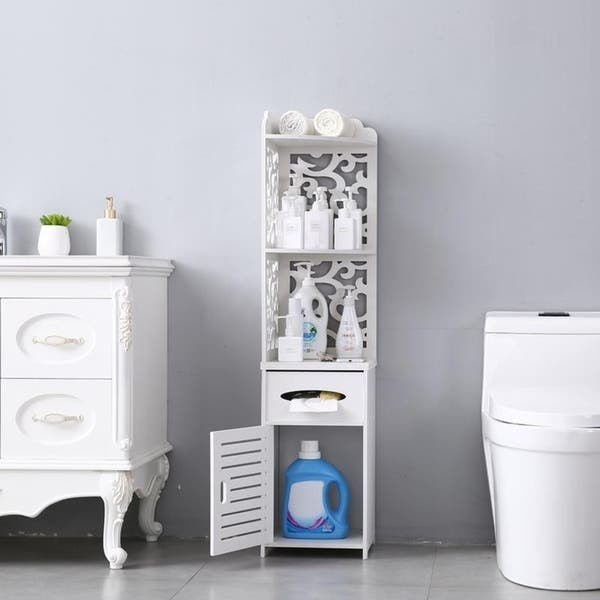 Greensen Bathroom Storage Floor Cabinet White Narrow Storage Tower Free Standing Toilet Paper Storage Corner Organizer Cabinet With Door Toilet Paper Storage Containers Zuiverlucht Home Kitchen