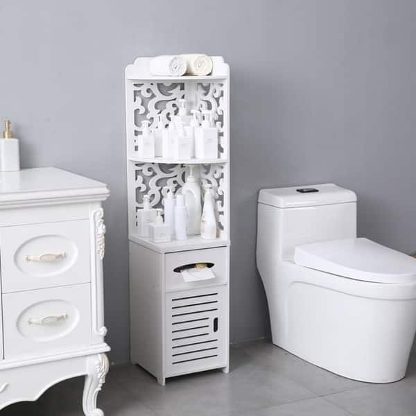 Shop Bathroom Storage Corner Floor Cabinet Thin Toilet Vanity Cabinet Narrow Bath Sink Organizer Paper Holder On Sale Overstock 30140006