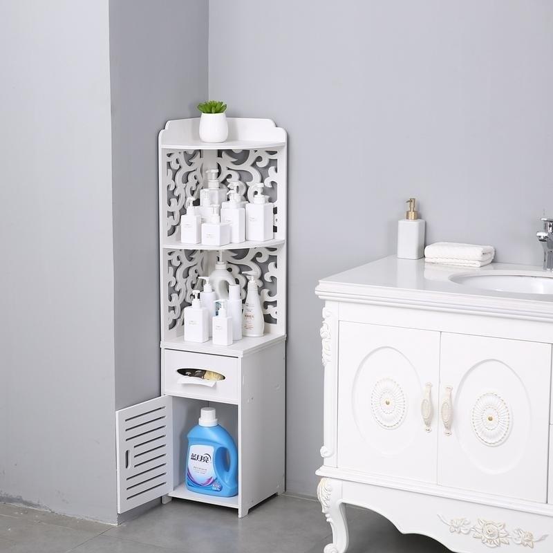 Bathroom Storage Corner Floor Cabinet