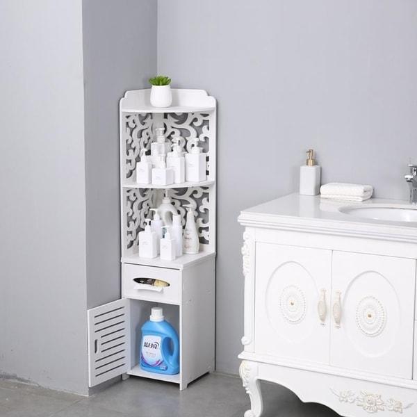 Bathroom Storage Corner Floor Cabinet Thin Toilet Vanity Cabinet Narrow Bath Sink Organizer, Paper Holder
