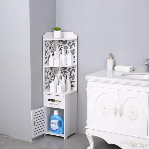 Corner Floor Cabinet Thin Toilet Vanity