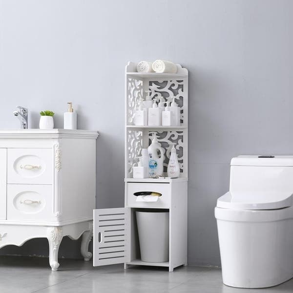 Seven Plus Waterproof Single Door Bathroom Cabinet White Small Bathroom Storage Corner Floor Cabinet Thin Toilet Vanity Cabinet For Paper Holder Bathroom Vanities Saidli Kitchen Bath Fixtures