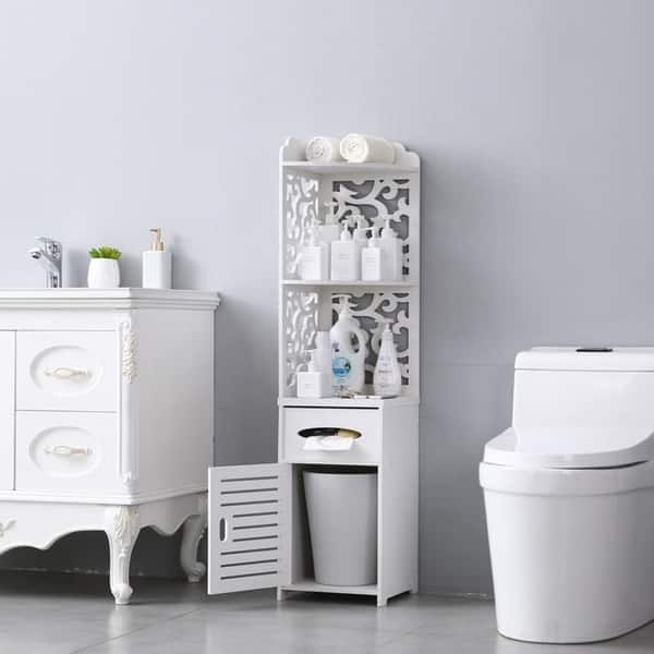 Seven Plus Waterproof Single Door Bathroom Cabinet White Small Bathroom Storage Corner Floor Cabinet Thin Toilet Vanity Cabinet For Paper Holder Bathroom Vanities Saidli Kitchen Bath Fixtures