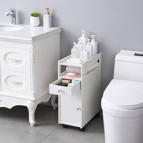 Small Bathroom Storage Thin Toilet Vanity Cabinet, Narrow Bath Sink Organizer, Towel Storage Shelf