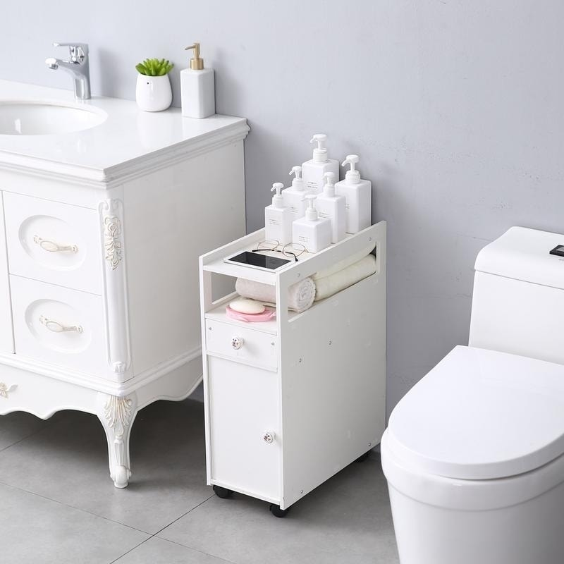 Small Bathroom Storage Thin Toilet Vanity Cabinet Narrow Bath Sink Organizer Towel Storage Shelf On Sale Overstock 30140012