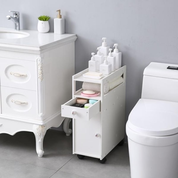 US PVC Waterproof Bathroom Toilet Cabinets Drawers Storage drawer Movable Table