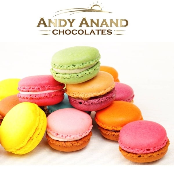 Andy Anand French Macarons 12 Pcs Made Fresh Daily, Gift Boxed & Greeting Card. Opens flyout.