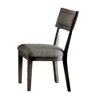Fabric Upholstered Wooden Side Chair with Paneled Back, Set of 2, Gray