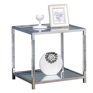 Glass Top Metal End Table with Open Bottom Shelf, Silver and Clear
