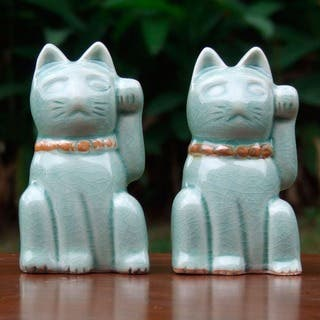 Handmade Two Celadon Ceramic Statuettes 'Lucky Cats' (Thailand)|https://ak1.ostkcdn.com/images/products/3014069/P11160147.jpg?impolicy=medium