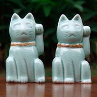 Handmade Two Celadon Ceramic Statuettes 'Lucky Cats' (Thailand)
