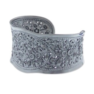 Frangipani Princess Traditional Handmade Floral Repousse 925 Sterling Silver Elegant Womens Cuff Bracelet (Thailand)