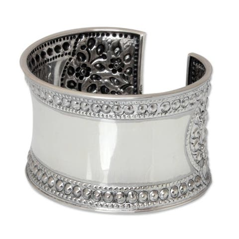 Handmade Lace Floral Filigree Repousse Cuff (Thailand) - Silver