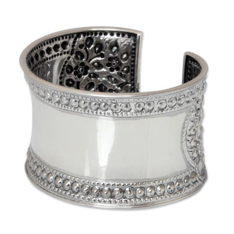 Handmade Lace Look Floral Filigree Repousse Cuff on Highly Polished .925 Sterling Silver (Thailand)