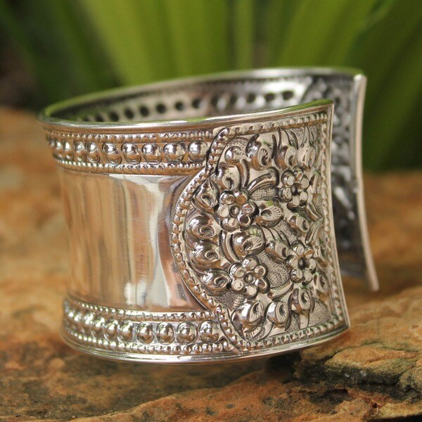 Jasmine Lake Lace Look Floral Filigree Repousse on Highly Polished Handmade 925 Sterling Silver Womens Cuff Bracelet (Thailand)