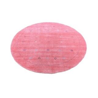 "Shahbanu Rugs Round Pink Modern Wool and Silk Hand Loomed Gabbeh Oriental Rug (6'2"" x 6'2"") - 6'2"" x 6'2"""