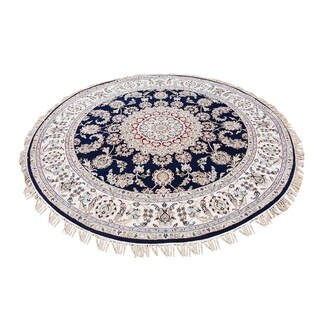 """Shahbanu Rugs Navy Blue Round Nain Wool And Silk 250 KPSI Hand Knotted Oriental Rug  (5'1"""" x 5'1"""") - 5'1"""" x 5'1"""""""