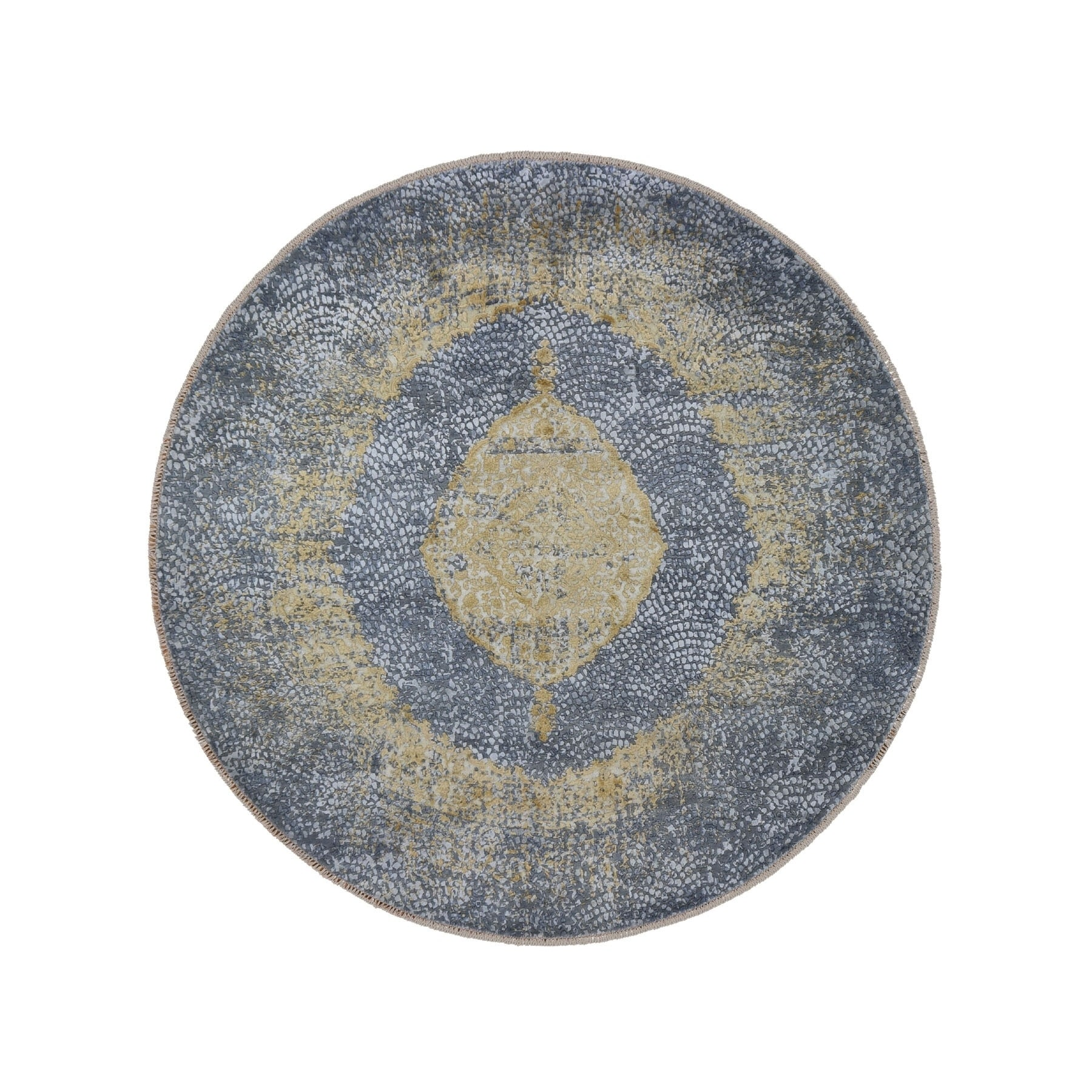 Shahbanu Rugs Round Gray Gold Persian Design Wool And Pure Silk Hand Knotted Oriental Rug 7 10 X 7 10 7 10 X 7 10