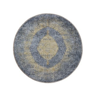 """Shahbanu Rugs Round Gray Gold Persian Design Wool And Pure Silk Hand Knotted Oriental Rug (7'10"""" x 7'10"""") - 7'10"""" x 7'10"""""""