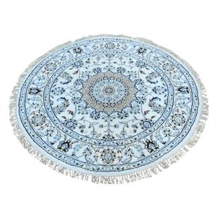 "Shahbanu Rugs Round Hand Knotted Wool And Silk 250 Kpsi Ivory Nain Oriental Rug (5'0"" x 5'0"") - 5'0"" x 5'0"""