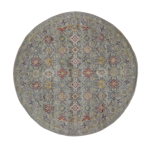 "Shahbanu Rugs THE SUNSET ROSETTES Pure Silk and Wool Hand Knotted Oriental Round Rug (11'8"" x 11'8"") - 11'8"" x 11'8"""