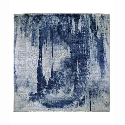 "Shahbanu Rugs Square Wool and Silk Shibori Design Tone On Tone Hand Knotted Oriental Rug (12'1"" x 12'1"") - 12'1"" x 12'1"""