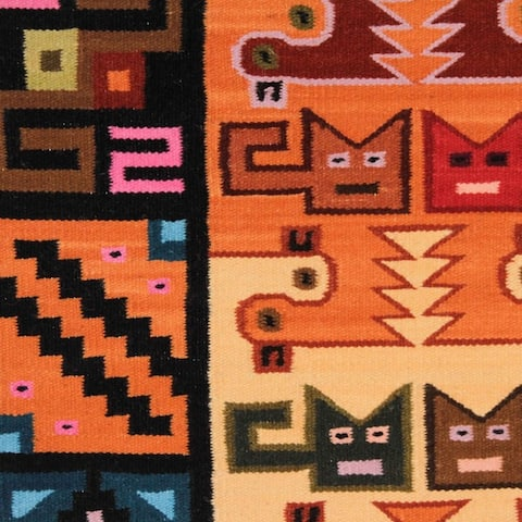 Cats and Ducks in Red Blue Green Orange Purple and Yellow on Black Ground Unique Handwoven Wool Arti