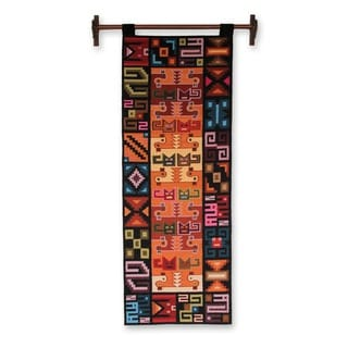 Cats and Ducks in Red Blue Green Orange Purple and Yellow on Black Ground Unique Handwoven Wool Artisan Wall Art Tapestry