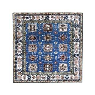 "Shahbanu Rugs Square Blue Super Kazak Pure Wool Hand Knotted Tribal Design Rug (8'3"" x 8'3"") - 8'3"" x 8'3"""