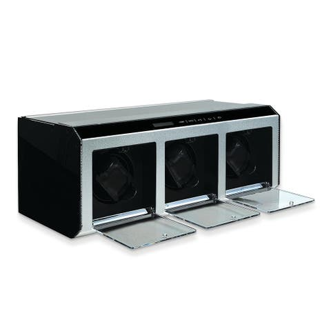Watch Winders by Rotations Silver Metal and Acrylic Triple Watch Winder