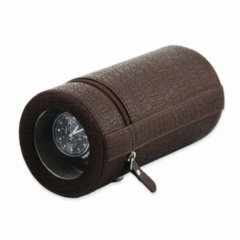 Watch Winders by Rotations Brown Croco Texture Faux Leather Travel Watch Winder