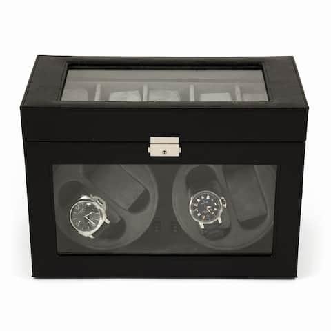 Four Watch Winder w/ 5 watch Case Black Leather