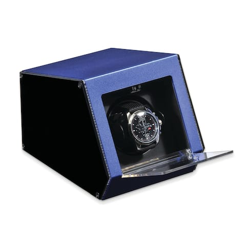Watch Winders by Rotations Blue Metal and Acrylic Single Watch Winder