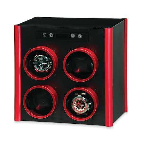Watch Winders by Rotations Black and Red Metal Quad Watch Winder
