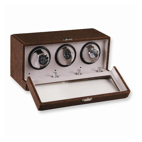 Watch Winders by Rotation Brown Faux Leather 3-Turntable Watch Winder