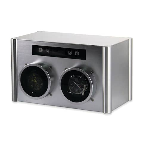 Watch Winders by Rotations Silver Metal Double Watch Winder
