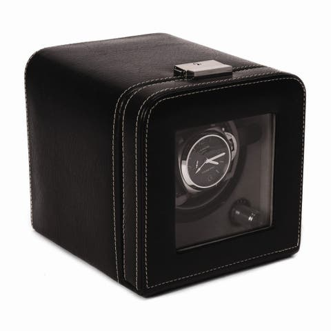 Black Leather with Glass Door and Locking Clasp Single Watch Winder