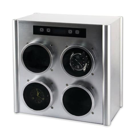 Watch Winders by Rotations Silver Metal Quad Watch Winder