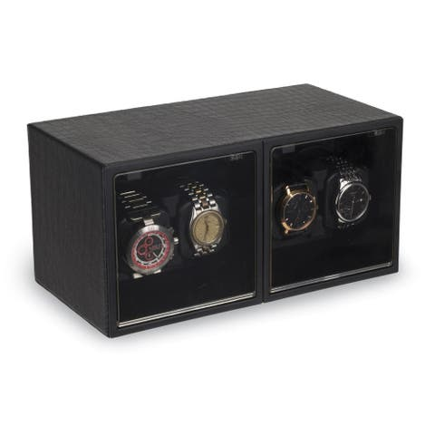 Watch Winders by Rotations Black Faux Leather Quad Watch Winder