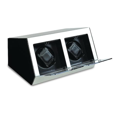 Watch Winders by Rotations Silver Metal and Acrylic Double Watch Winder