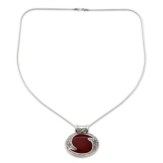 Handmade Royal Amulet Round Red Orange Carnelian Gemstone on 925 Sterling Silver Snake Chain Bohemian Pendant Necklace (India)