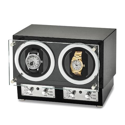 Watch Winders by Luxury Giftware High Gloss Carbon Fiber Finish Glass Door Dual Watch Winder