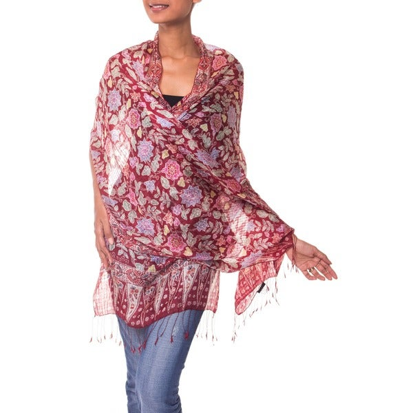 Wine Garden Hand Stamped Artisan Batik Floral Multicolor Gossamer 100% Silk Knotted Fringe Womens Scarf Shawl Wrap (Indonesia)