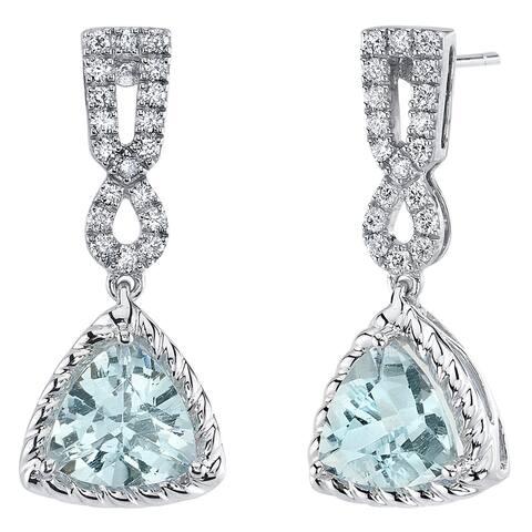 14K White Gold Aquamarine and Lab Grown Diamond Dangle Halo Earrings, 4.38 Carats