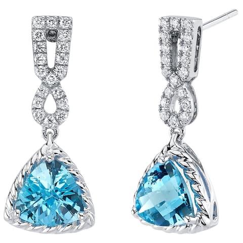 14K White Gold Swiss Blue Topaz and Lab Grown Diamond Dangle Halo Earrings, 4.38 Carats